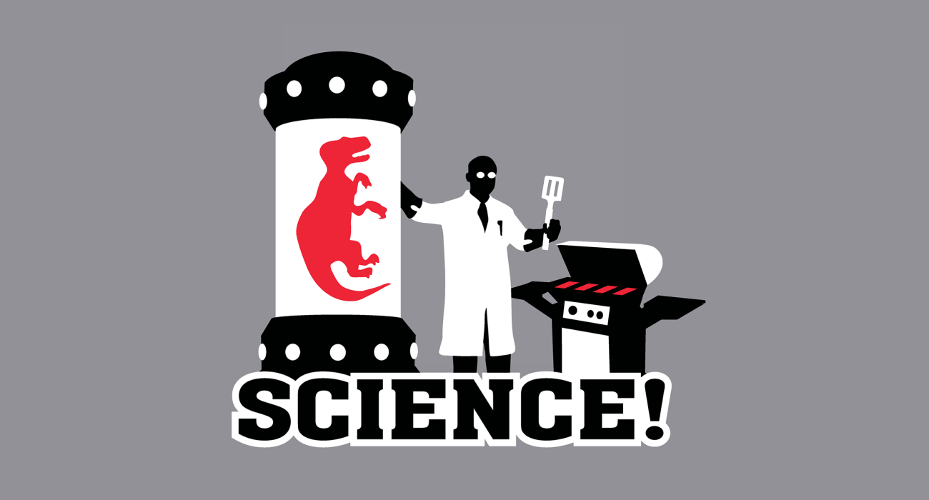 A jovial scientist cloning himself up a dinosaur for the sake of adding making him the main course at a summer Barbecue