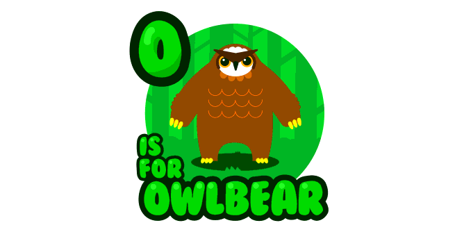 Graphic for o-is-for-owlbear