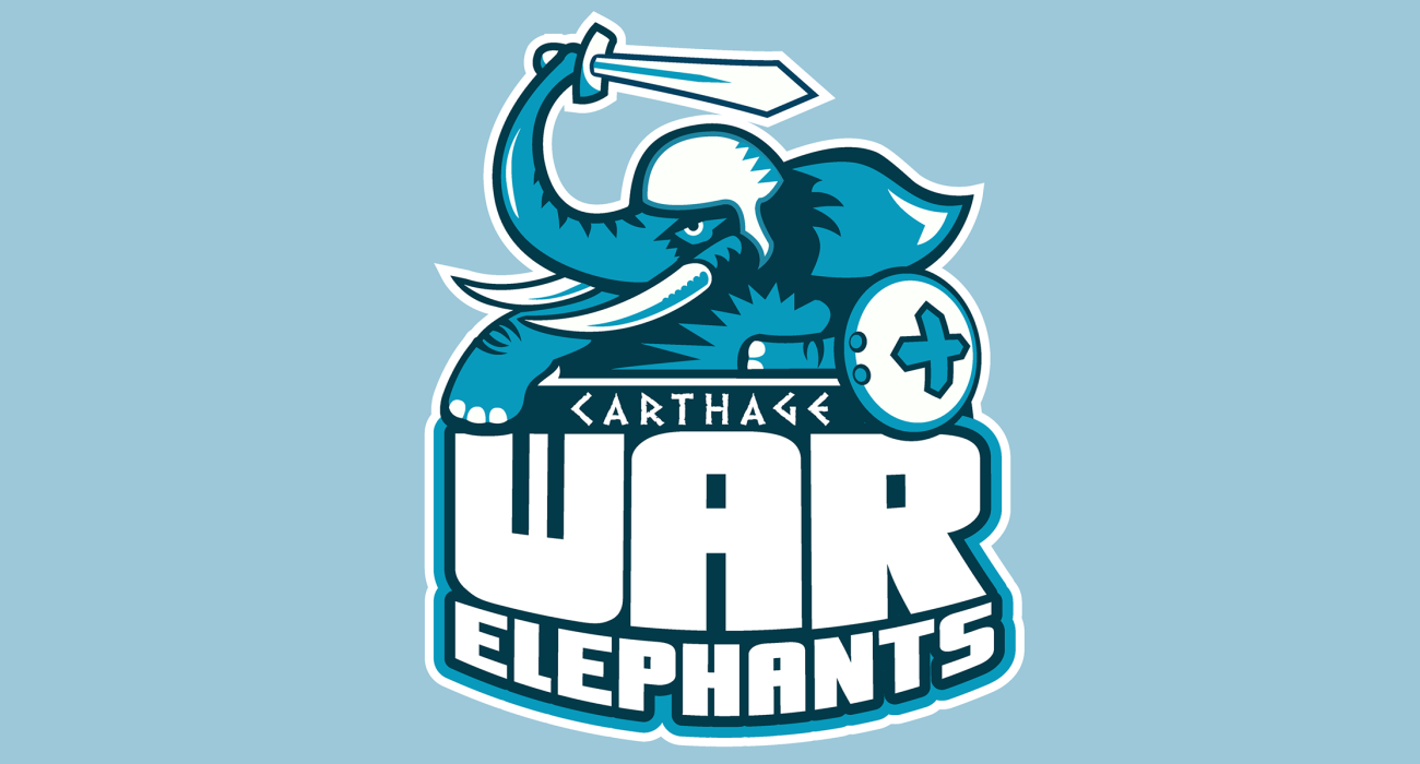 A mighty War Elephant, sword raised! A reference to when that wacky Hannibal crossed the alps and slapped around the Romans in the battle of the Trebia