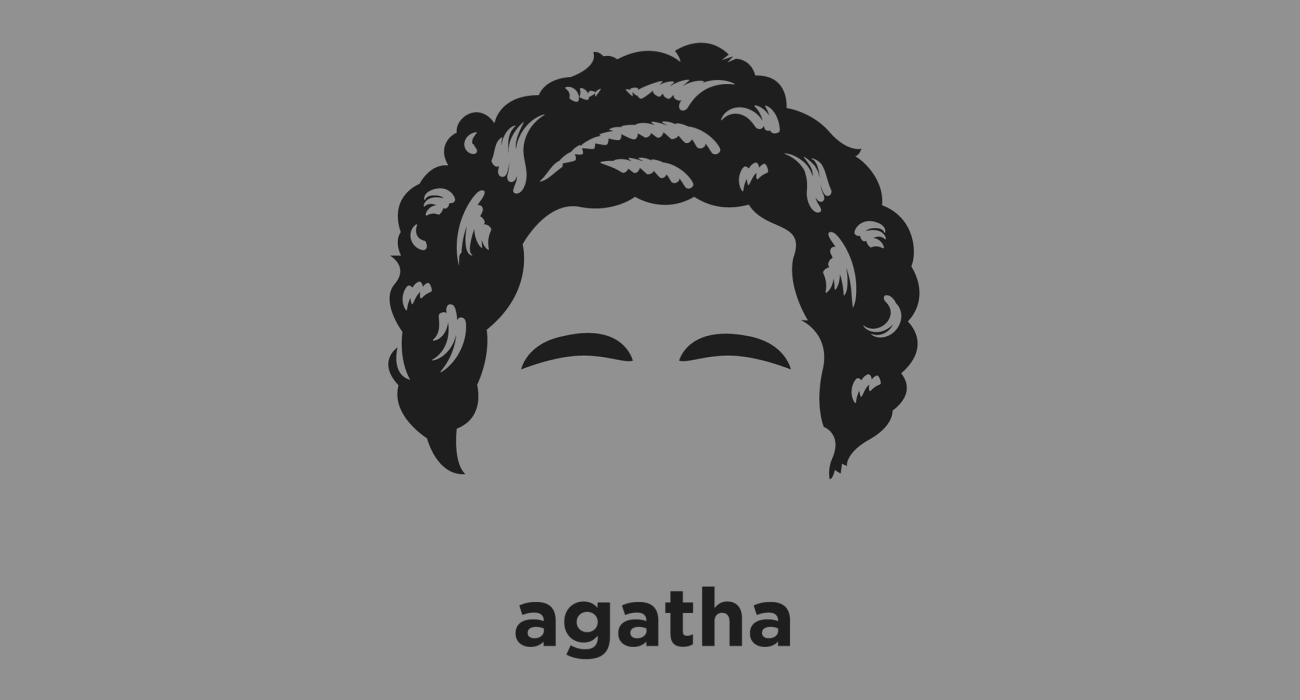 A t-shirt with a minimalist hair based illustration of  Agatha Christie: English murder mystery novelist best known for her detective novels about the investigative work of detectives Hercule Poirot and Jane Marple