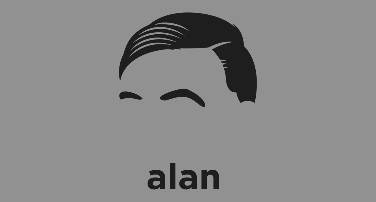 A t-shirt with a minimalist hair based illustration of  Alan Turing: British mathematician, logician, cryptanalyst, and computer scientist, father of computer science and WWII codebreaking hero
