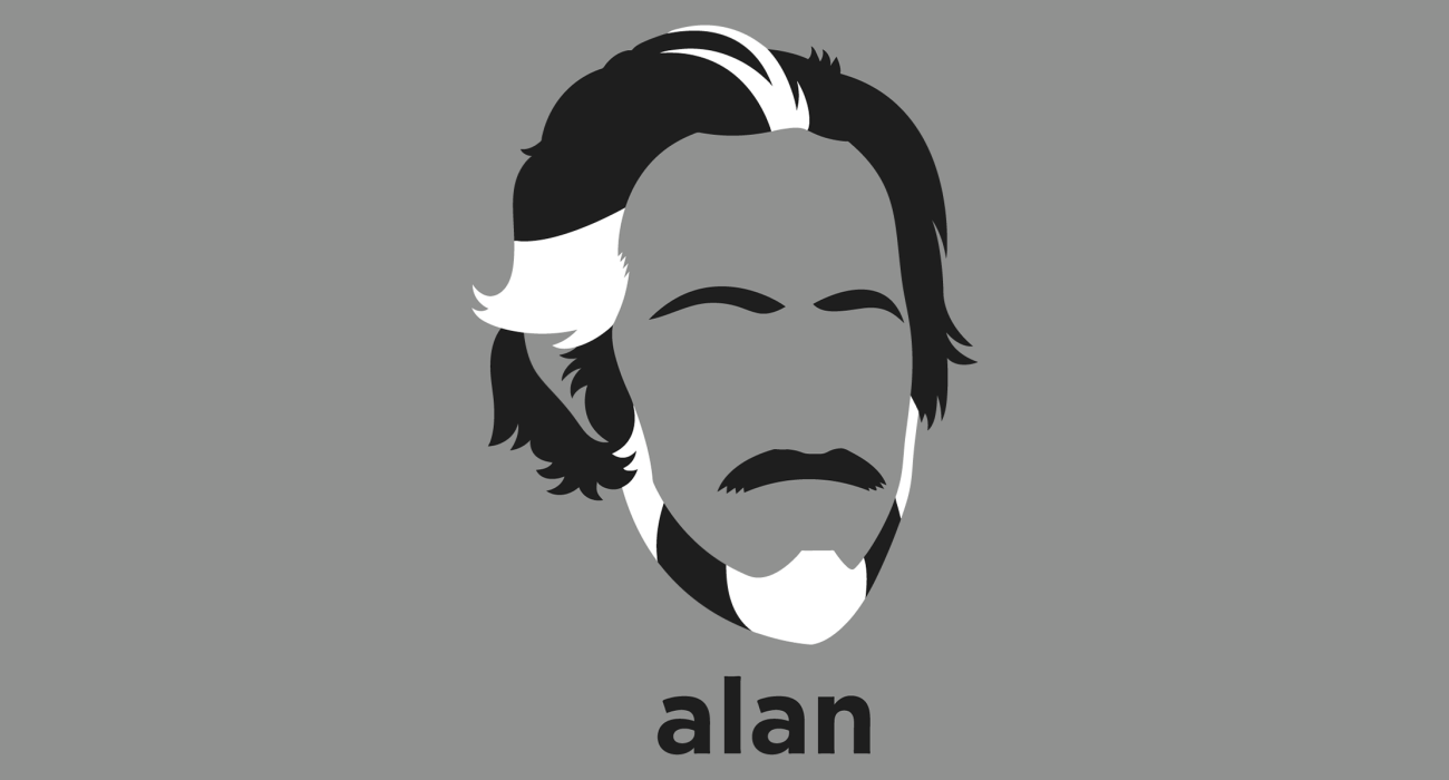 A t-shirt with a minimalist hair based illustration of Alan Watts: British-born American philosopher, writer, and speaker, best known as an interpreter and populariser of Eastern philosophy for a Western audience