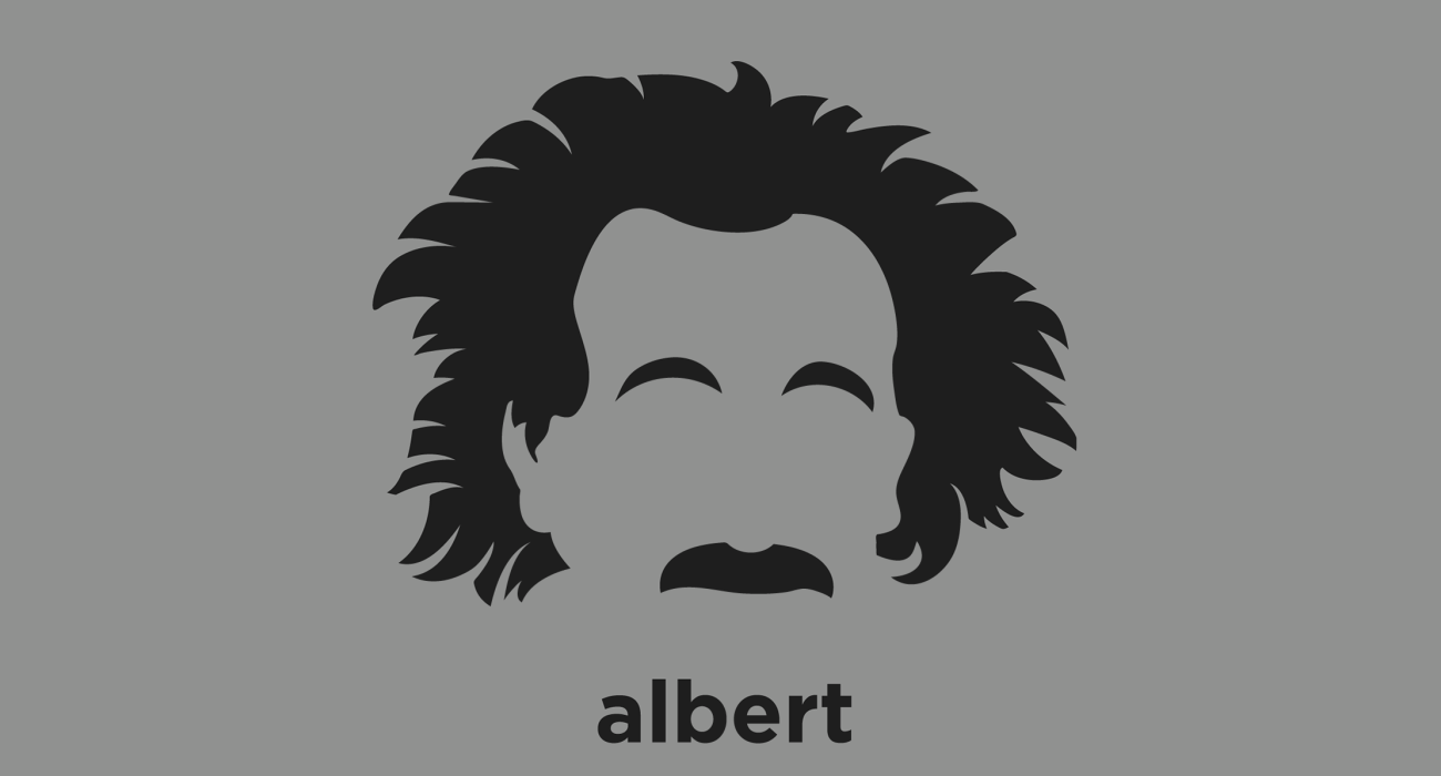 A t-shirt with a minimalist hair based illustration of Albert Einstein: reolutionary theoretical physicist who developed the theory of relativity, one of the two pillars of modern physics (alongside quantum mechanics)