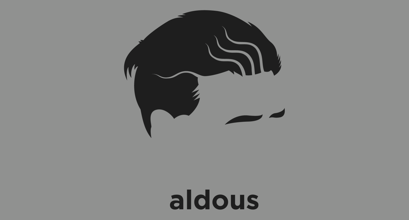 A t-shirt with a minimalist hair based illustration of  Aldous Huxley: English humanist, pacifist, and satirist writer best known for his novels including Brave New World and a wide-ranging output of essays