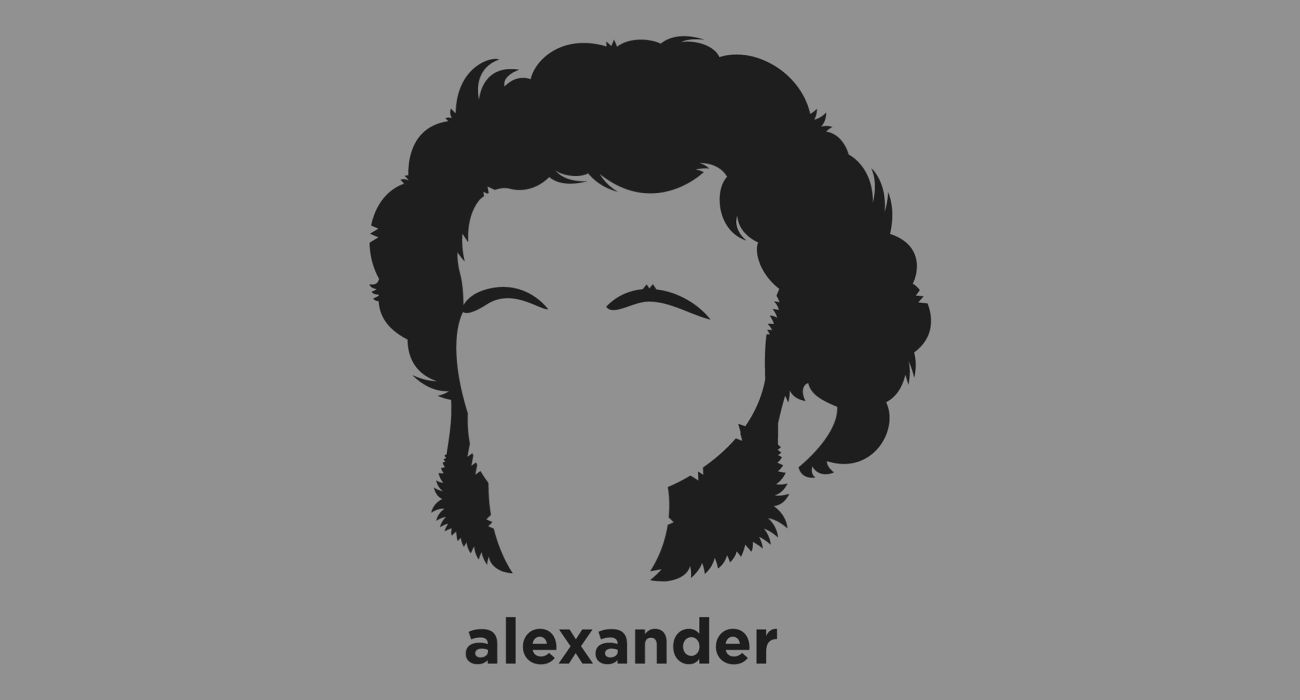 A t-shirt with a minimalist hair based illustration of Alexander Pushkin: Russian author of the Romantic era who is considered by many to be the greatest Russian poet and the founder of modern Russian literature