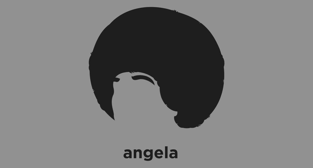 A t-shirt with a minimalist hair based illustration of Angela Davis: political activist, scholar, and author. She emerged as a nationally prominent activist and radical for her involvement in the Civil Rights Movement