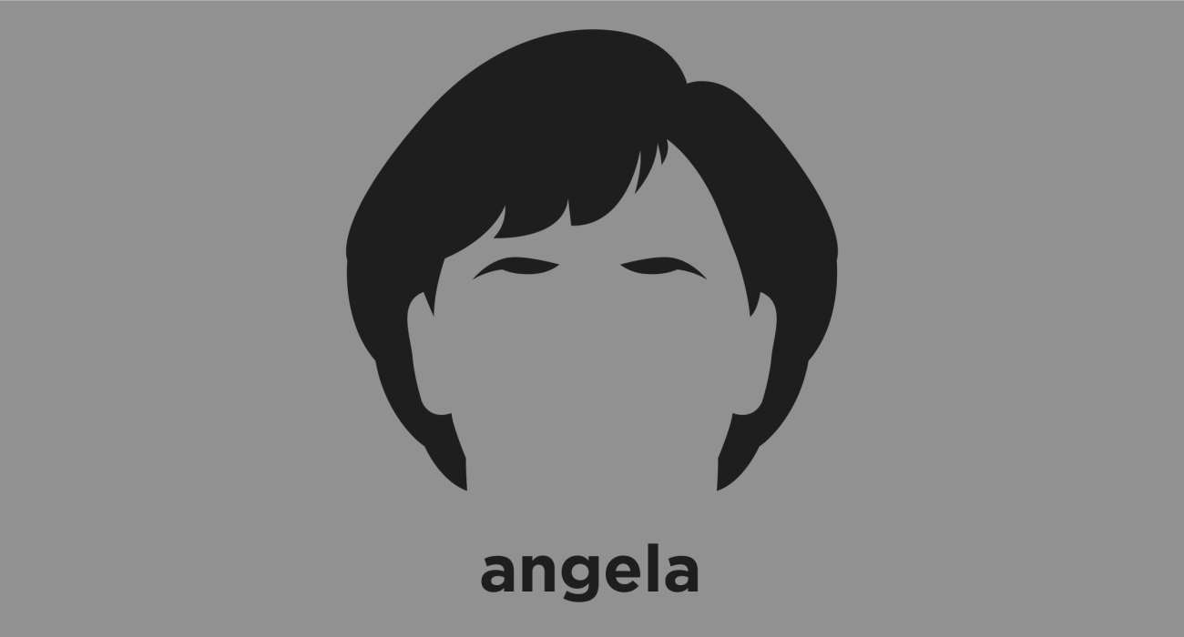 A t-shirt with a minimalist hair based illustration of Angela Merkel: Chancellor of Germany since 2005 and has been widely described as the de facto leader of the European Union, the most powerful woman in the world, and by many commentators as the leader of the Free World.
