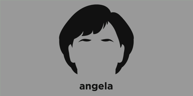 A t-shirt with a minimalist hair based illustration of Angela Merkel