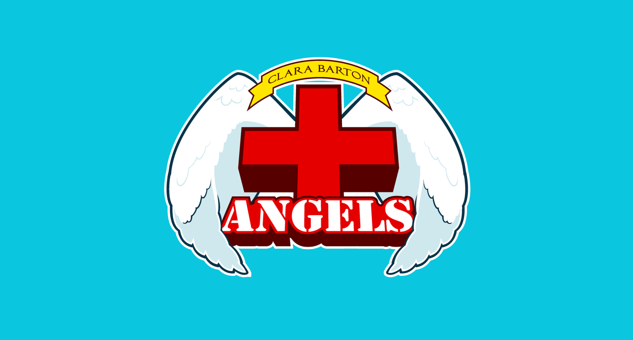 A fake team logo t-shirt featuring  A red cross surrounded by a pair of angelic wings, to represent Clara Barton the founder of the American Red Cross dedicated to helping victims of war and disasters