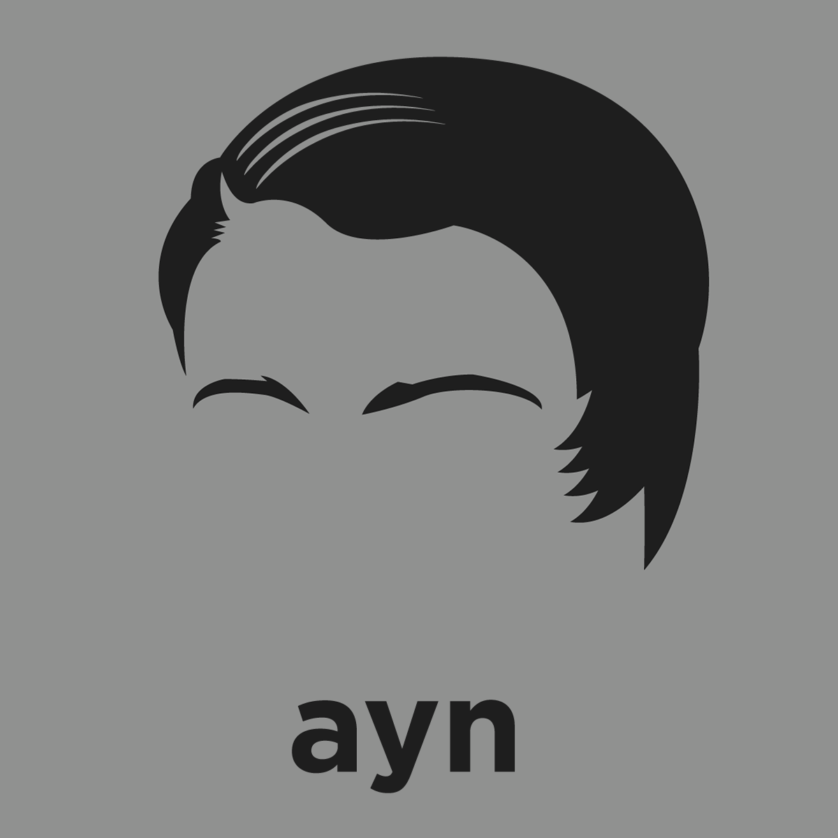 Design your own ethical t shirt - A T Shirt With A Minimalist Hair Based Illustration Of Ayn Rand Author And