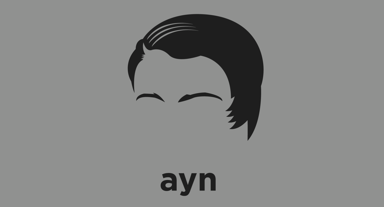 A t-shirt with a minimalist hair based illustration of Ayn Rand: author and philosopher known for The Fountainhead and Atlas Shrugged, and for her philosophical system called Objectivism which supported ethical egoism, and rejected altruism