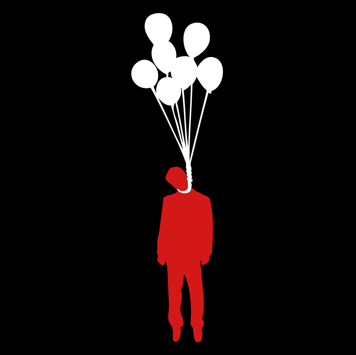 A Silhouette Of Some Sad Sack Man Floating In The Air Ironically Hanging Himself