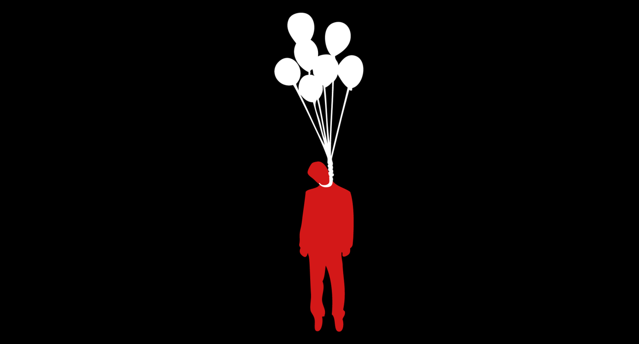 A silhouette of some sad sack of a man floating in the air ironically hanging himself with a big happy batch of balloons. Ah despair how deliciously you juxtapose with mirth