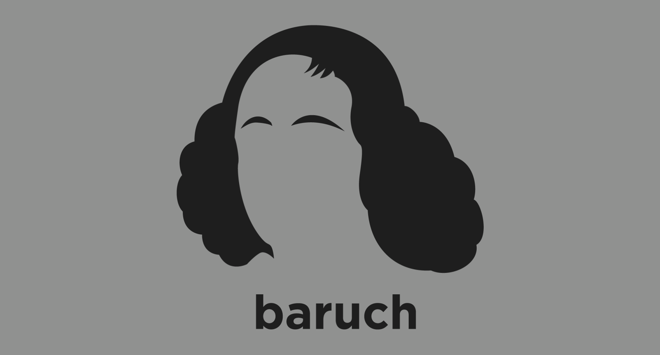 A t-shirt with a minimalist hair based illustration of  Baruch Spinoza: Rationalist philosopher who laid the groundwork for the 18th century Enlightenment and modern biblical criticism