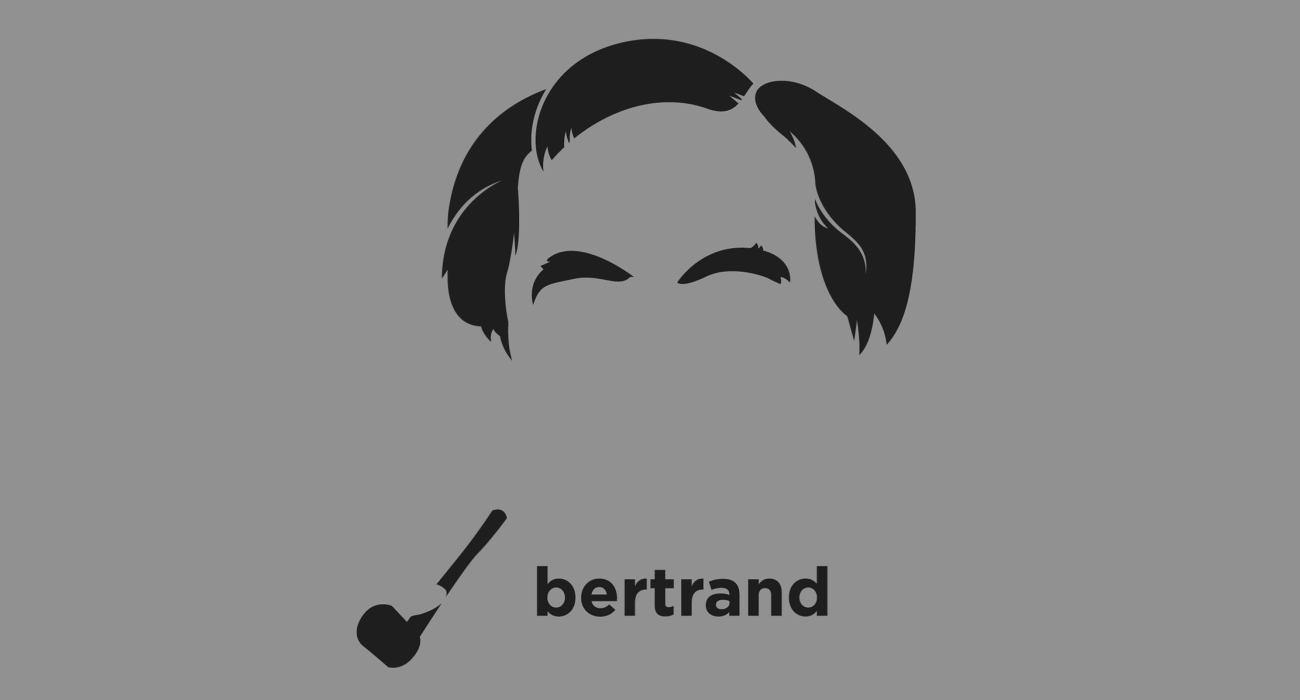 A t-shirt with a minimalist hair based illustration of Bertrand Russell: British philosopher, and mathematician, who helped found analytic philosophy, and led the British 'revolt against idealism' in the early 20th century