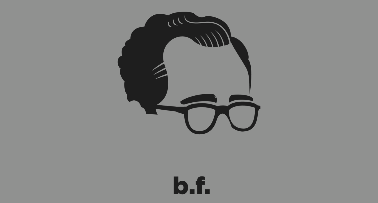A t-shirt with a minimalist hair based illustration of  B. F. Skinner: psychologist, behaviorist, and author. Inventor of the operant conditioning chamber, and firm believer free will was an illusion