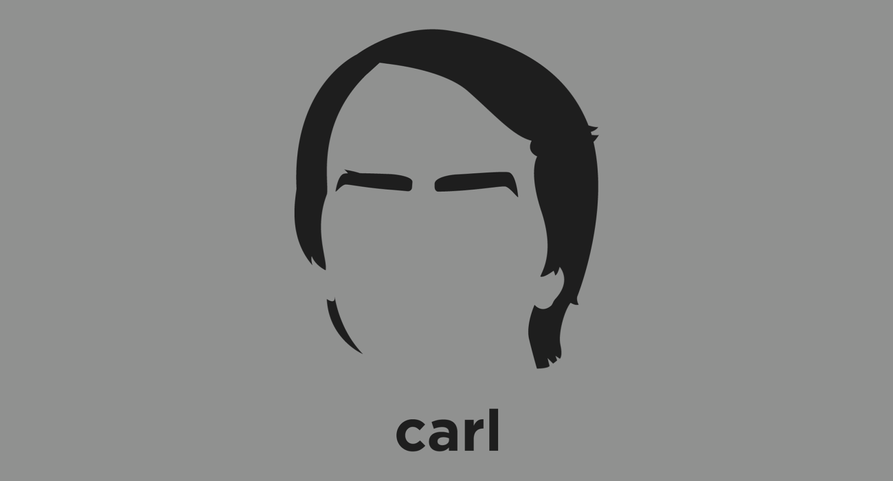 A t-shirt with a minimalist hair based illustration of Carl Sagan: astronomer, cosmologist, author, science popularizer and science communicator in astronomy and natural sciences best known for Cosmos: A Personal Voyage
