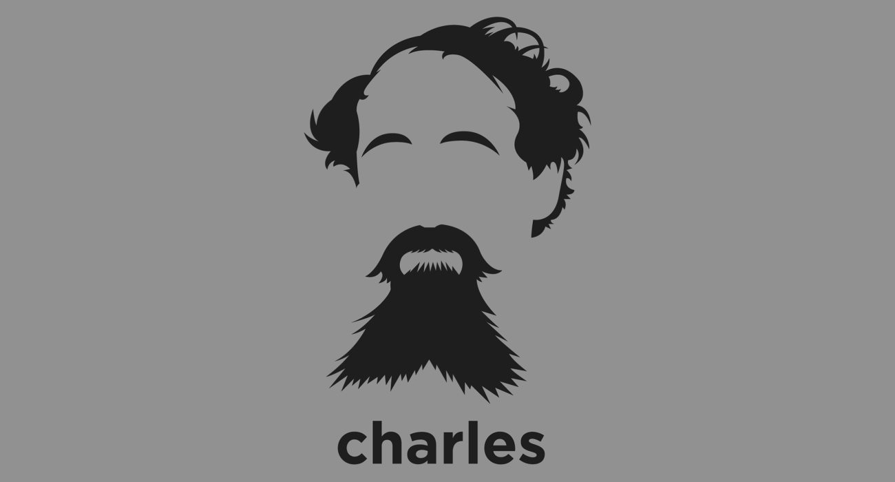 A t-shirt with a minimalist hair based illustration of Charles Dickens: English writer and social critic. He created some of the world's best-known fictional characters and is regarded as the greatest novelist of the Victorian era