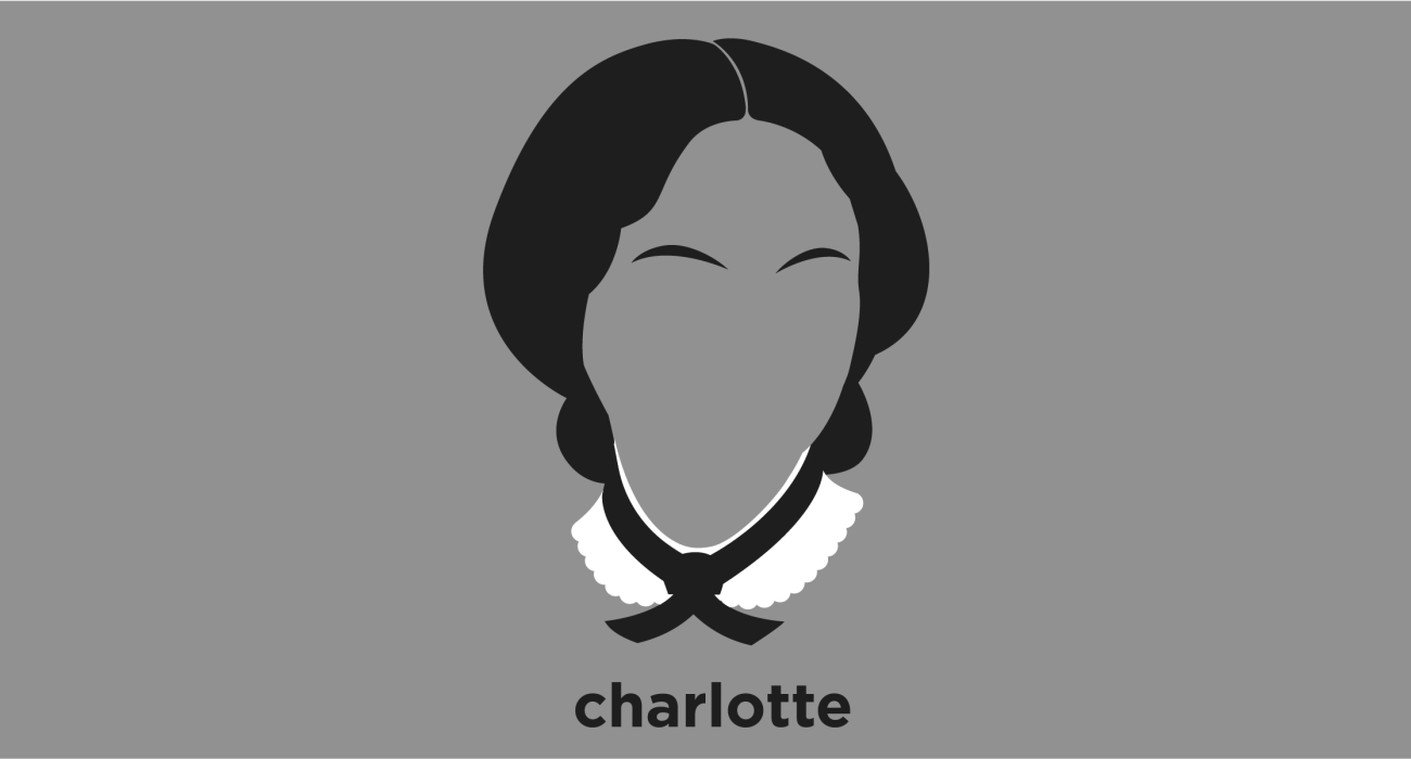 A t-shirt with a minimalist hair based illustration of Charlotte Bronte was an English novelist and poet, the eldest of the three Bronte sisters who survived into adulthood and whose novels, most notably Jane Eyre, became classics of English literature.