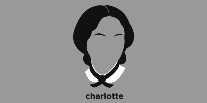 A t-shirt with a minimalist hair based illustration of Charlotte Bronte