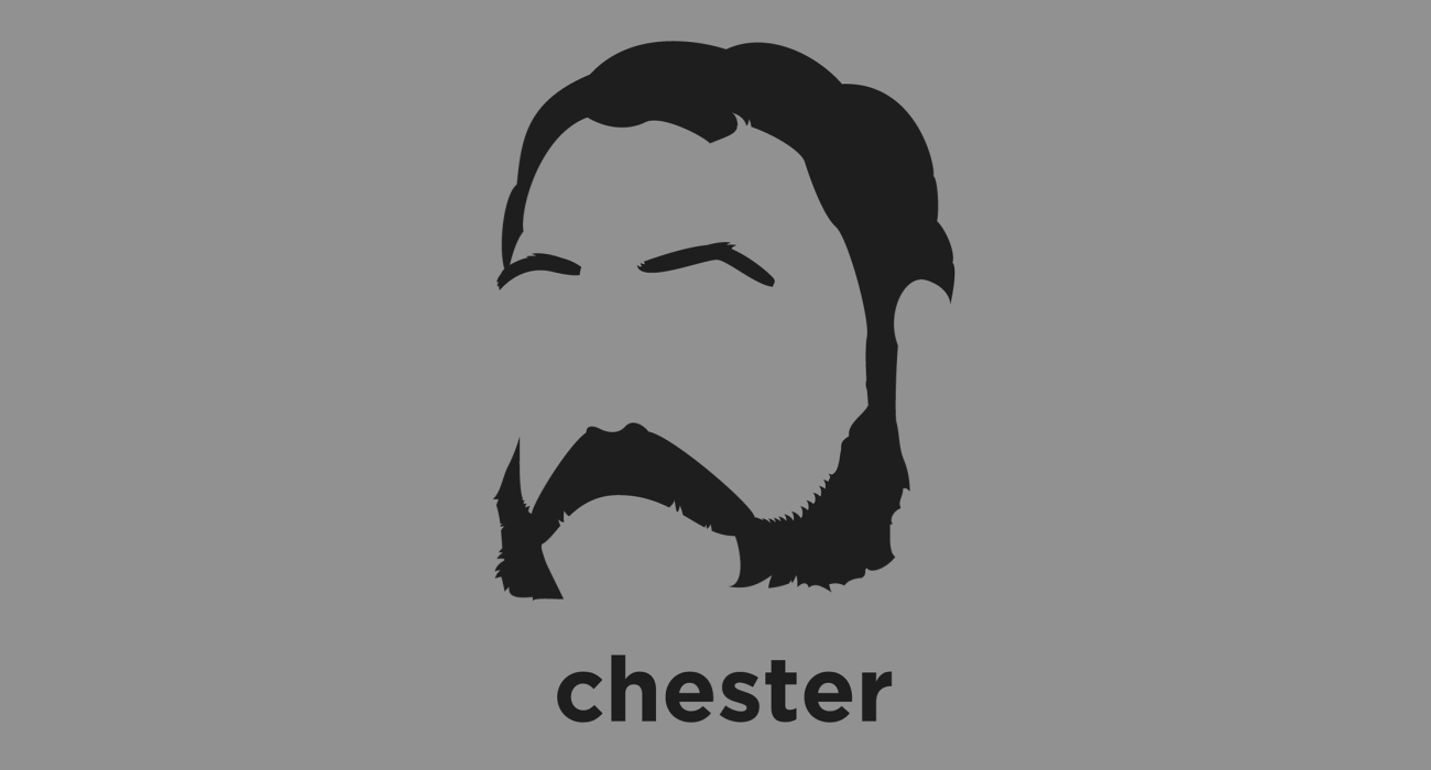 A t-shirt with a minimalist hair based illustration of  Chester A. Arthur: 21st President of the United States who at the outset struggled to overcome his reputation, stemming from his beginnings in the New York City Republican political machine