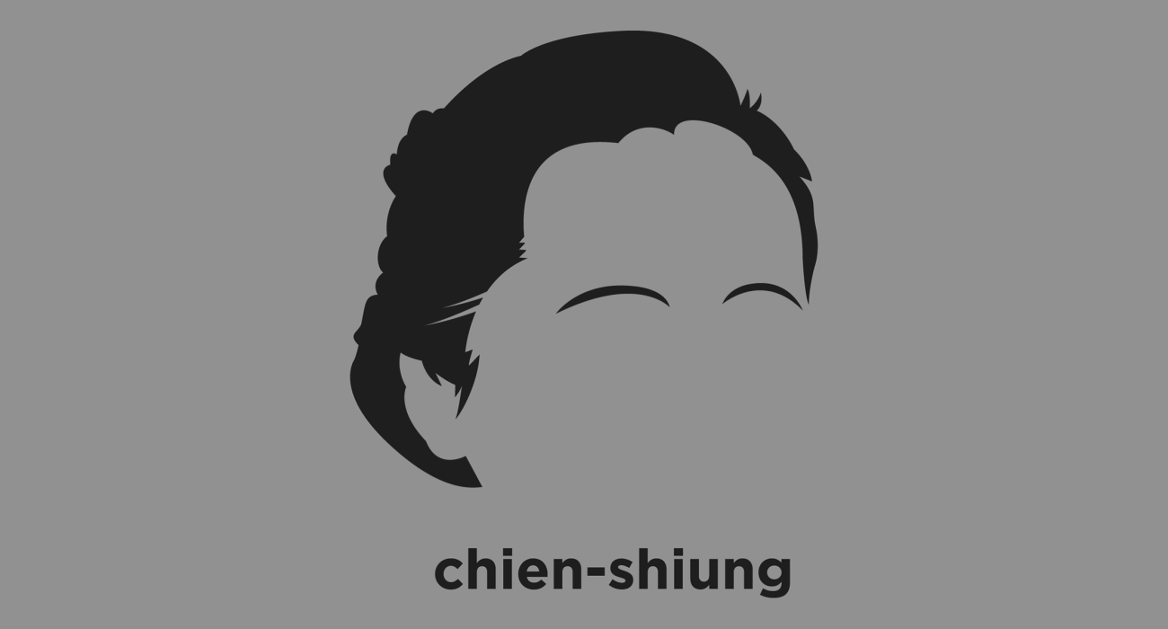 A t-shirt with a minimalist hair based illustration of Chien-Shiung Wu: Chinese American physicist who worked on the Manhattan Project, an expert in the techniques of experimental physics and radioactivity