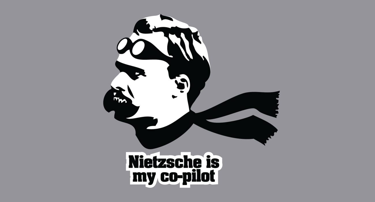 Mad existentialist philosopher Friedrich Nietzsche perhaps best known for his proclamation God is dead. I don't know where we are flying but I bet there will be way more nudity then if Jesus was in the cockpit