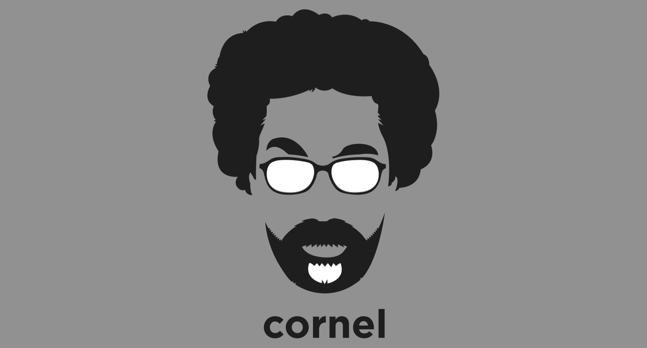 A t-shirt with a minimalist hair based illustration of Cornel West: philosopher, academic, activist, author, public intellectual, and prominent member of the Democratic Socialists of America