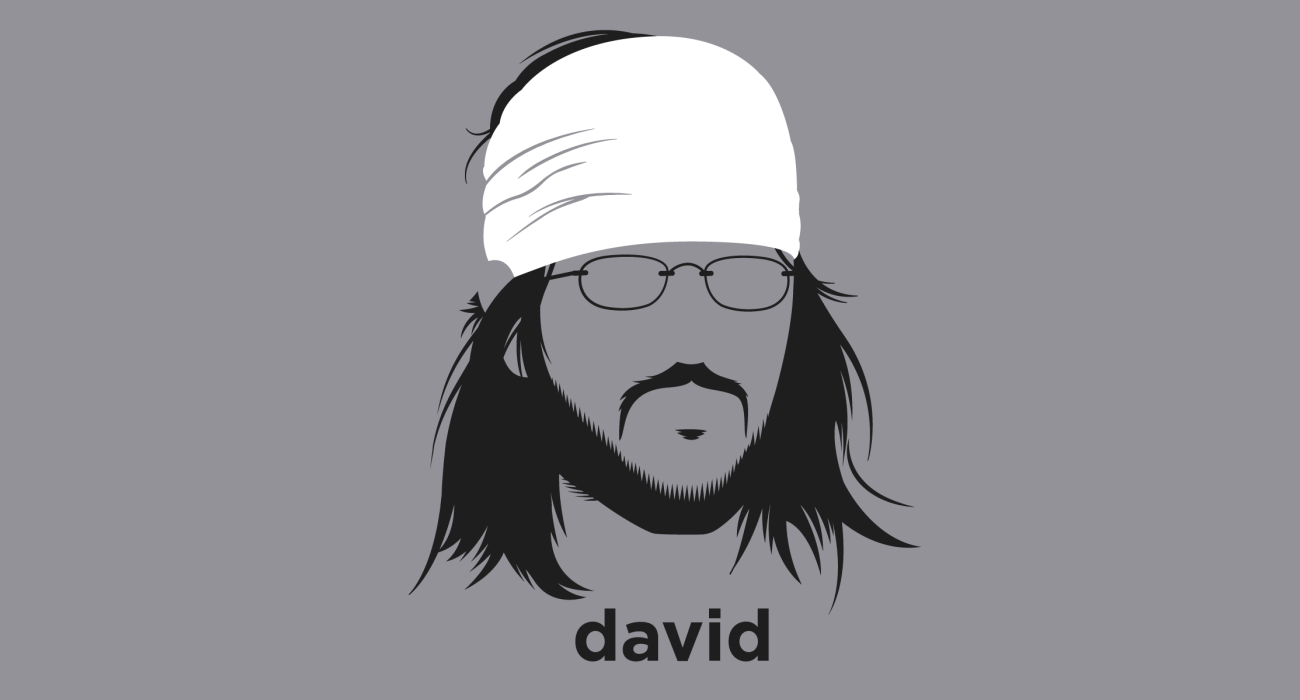 A t-shirt with a minimalist hair based illustration of David Foster Wallace: Author best known for his sprawling, challenging novel Infinite Jest, listed by Time magazine as one of the hundred best English-language novels published between 1923 and 2005.