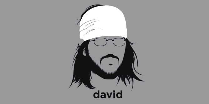 A t-shirt with a minimalist hair based illustration of David Foster Wallace