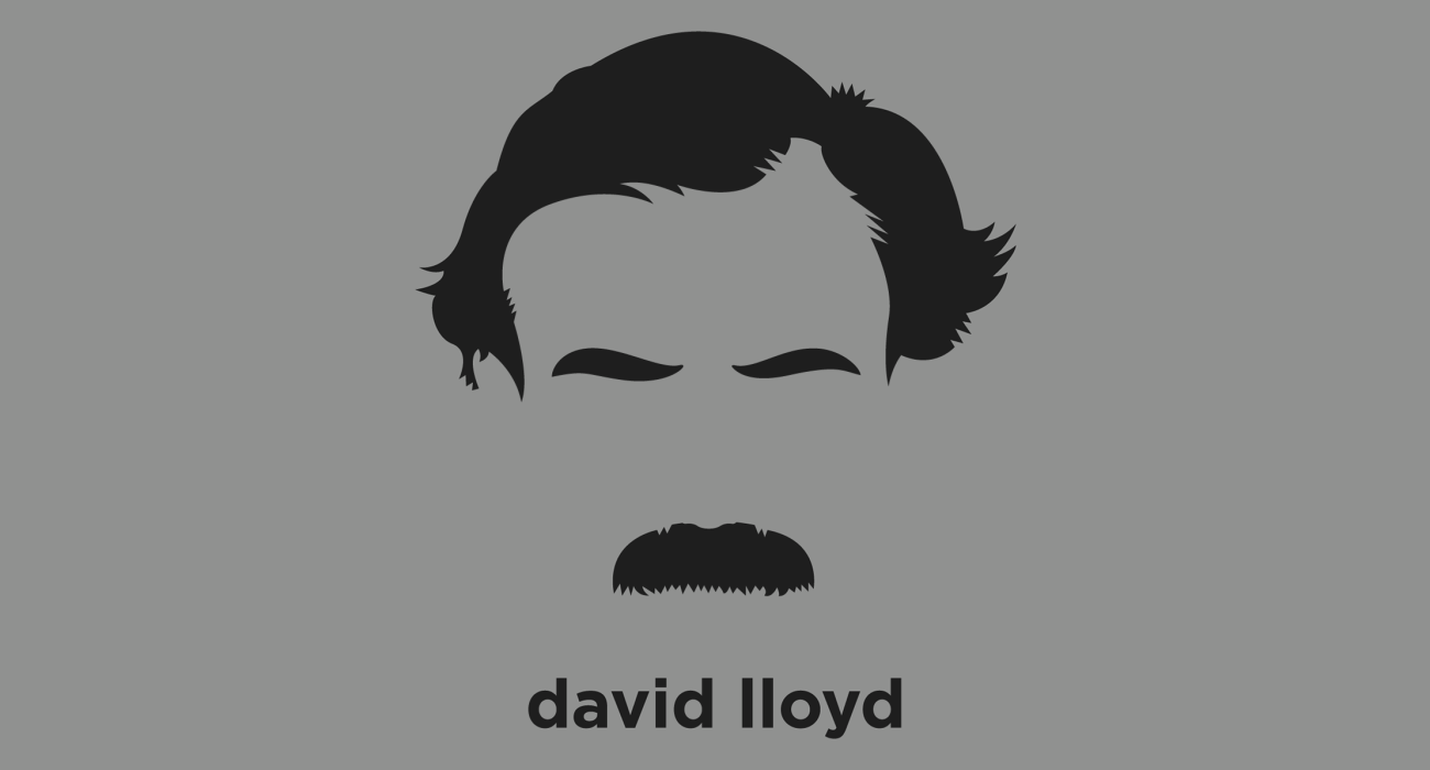 A t-shirt with a minimalist hair based illustration of  David Lloyd George: British Liberal politician and Chancellor of the Exchequer, where he was a key figure in the introduction of many reforms of the modern welfare state