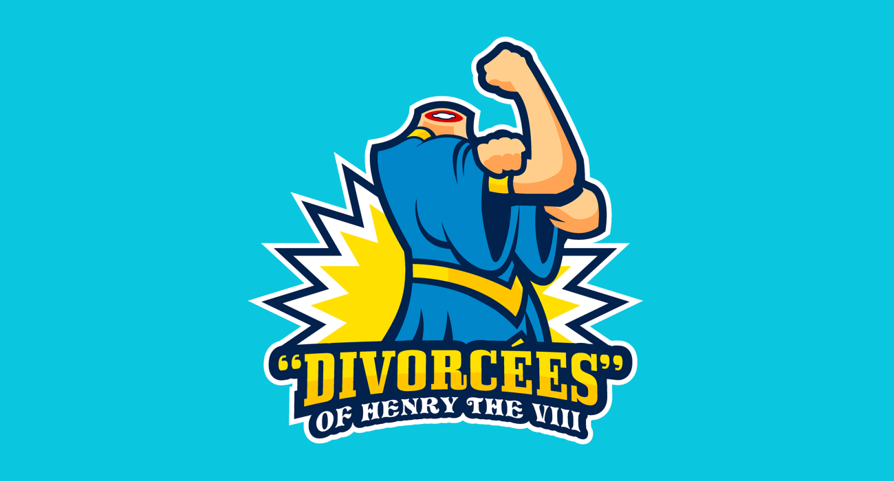 A fake team logo t-shirt featuring  A defiant beheaded women representing Anne Boleyn and Catherine Howard the executed wives of Henry the VIII, euphemistically referred to here as divorcees