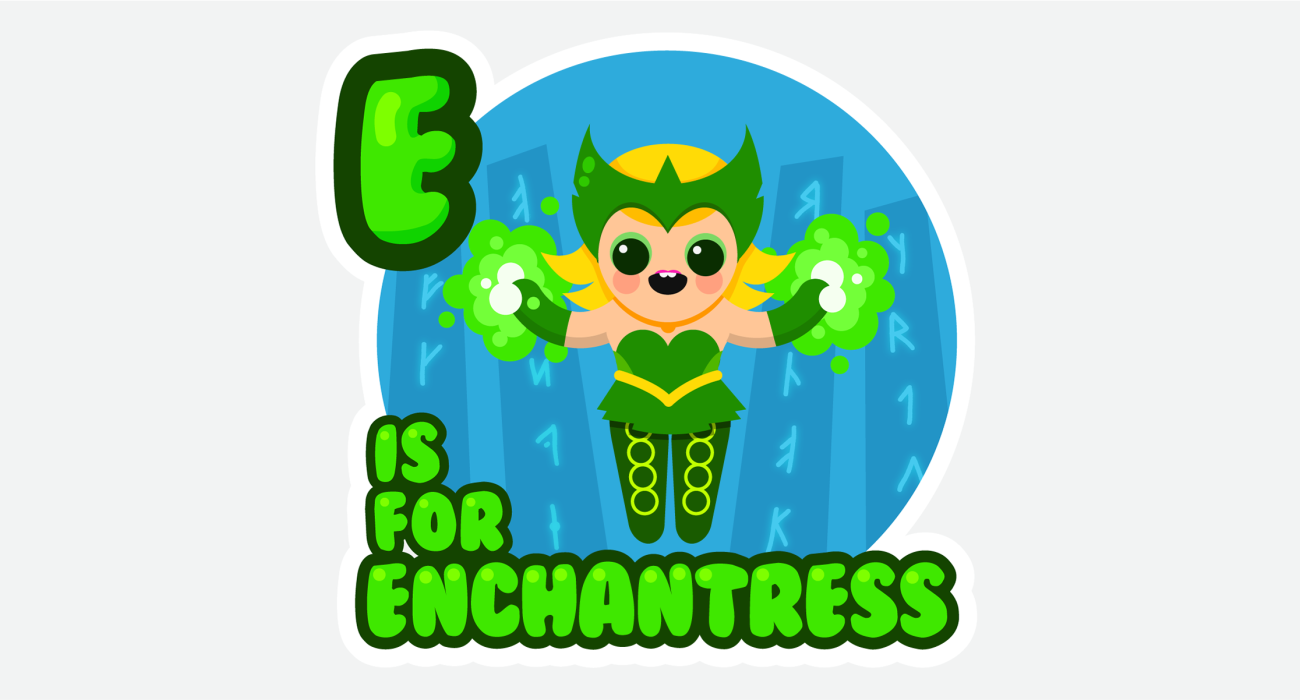 An kid's ABC book style illustration for The adorable enchantress Amora, using some runes to charge up her magical-wagical powers, getting ready for her next tussle with that big bore Thor