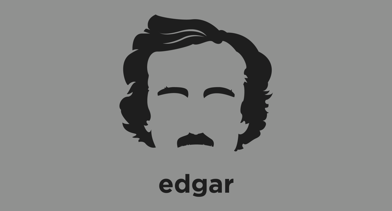 A t-shirt with a minimalist hair based illustration of  Edgar Allan Poe: American author, poet, editor, and literary critic, considered part of the American Romantic Movement, best known for his tales of mystery and the macabre
