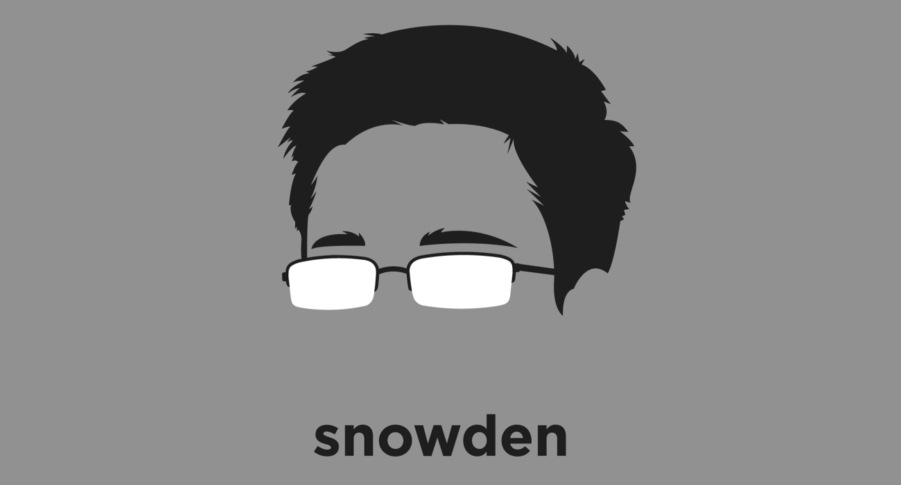 A t-shirt with a minimalist hair based illustration of Edward Snowden: whistleblower, and former CIA employee, who copied classified information from the NSA which revealed numerous shady global surveillance programs