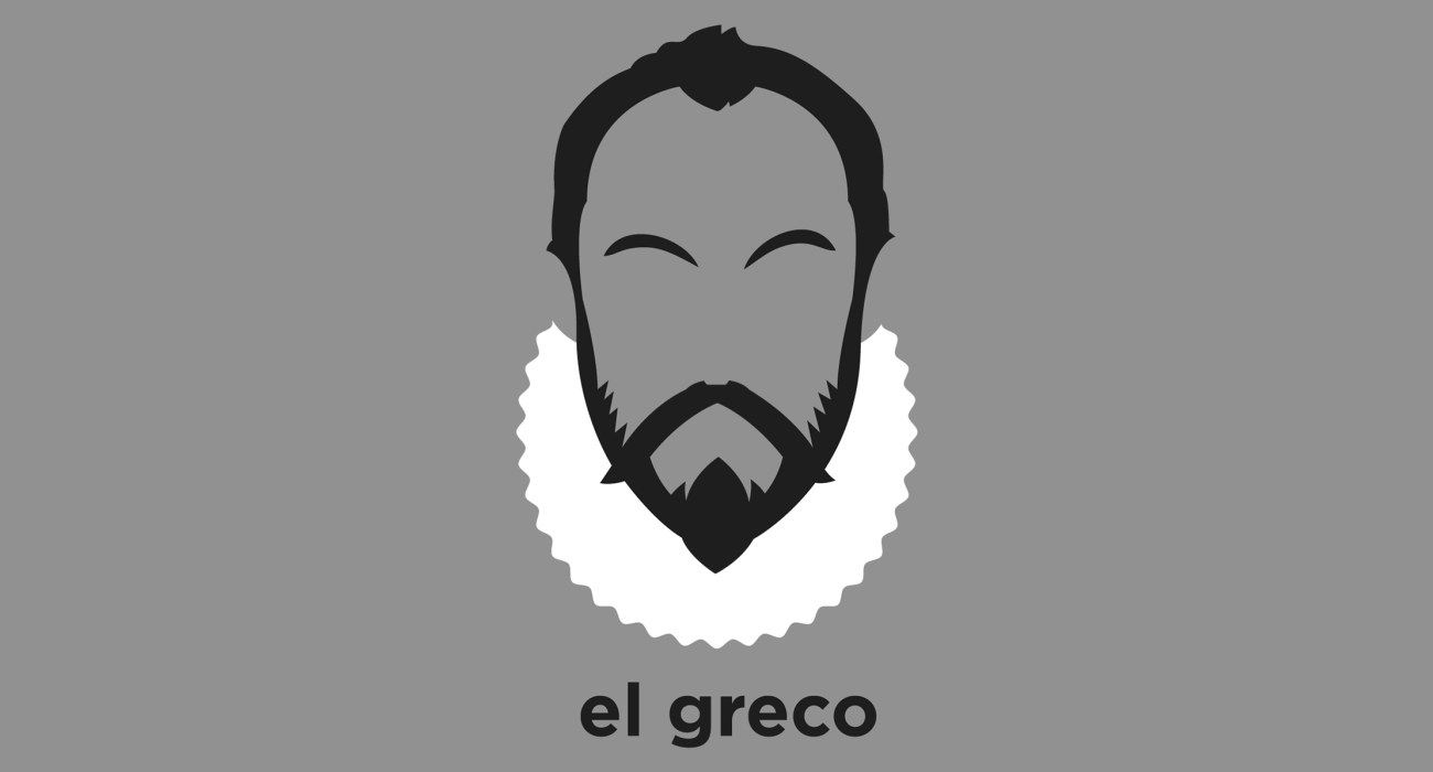A t-shirt with a minimalist hair based illustration of Domenikos Theotokopoulos: most widely known as El Greco, was a painter, sculptor and architect of the Spanish Renaissance