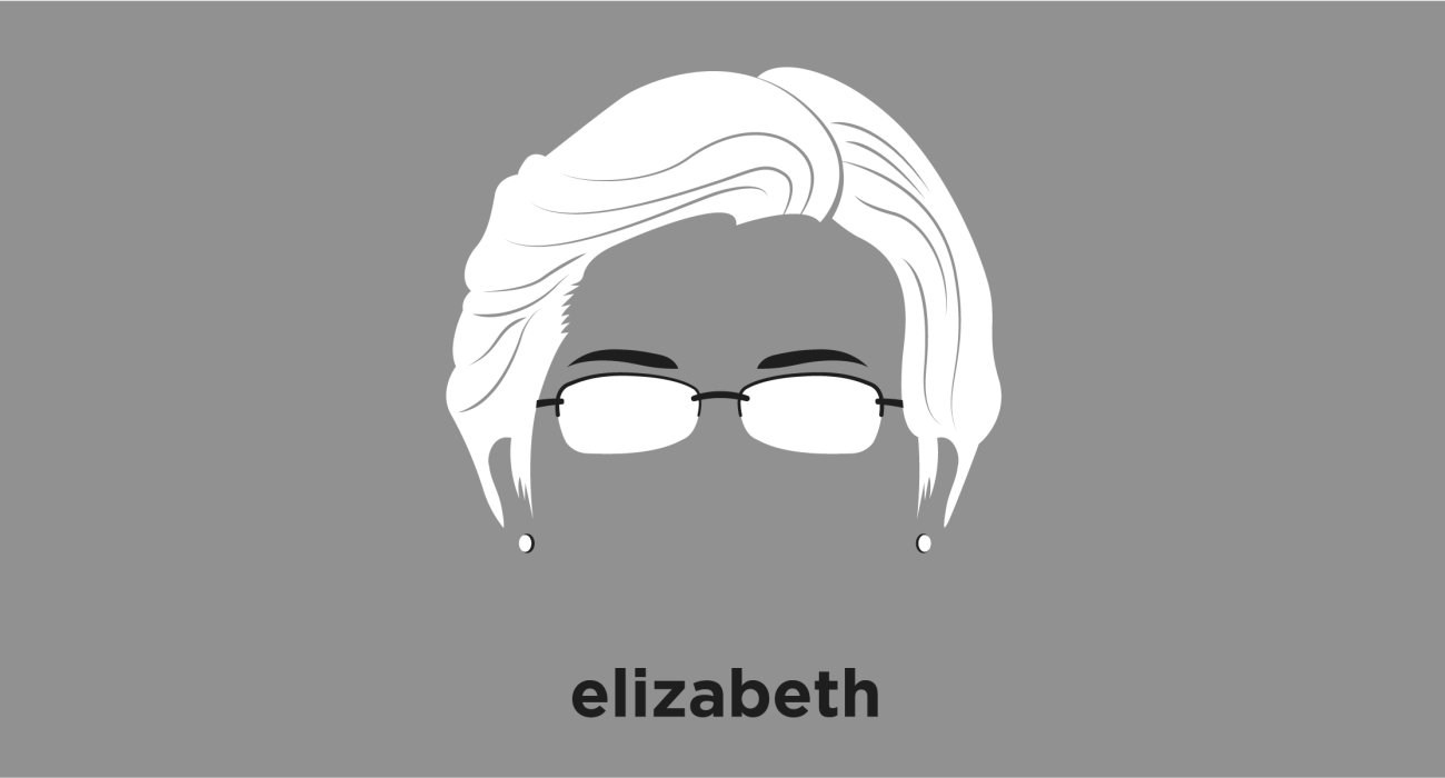 A t-shirt with a minimalist hair based illustration of Elizabeth Warren: United States Senator from Massachusetts and formerly a law school professor specializing in bankruptcy law. A member of the Democratic Party and a progressive, Warren has focused on consumer protection, economic opportunity, and the social safety net.