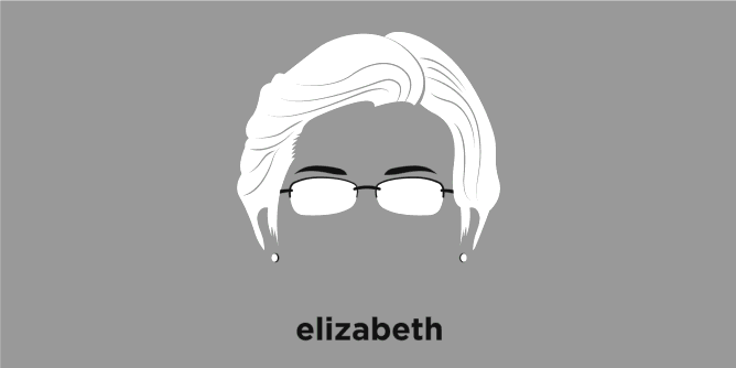 A t-shirt with a minimalist hair based illustration of Elizabeth Warren
