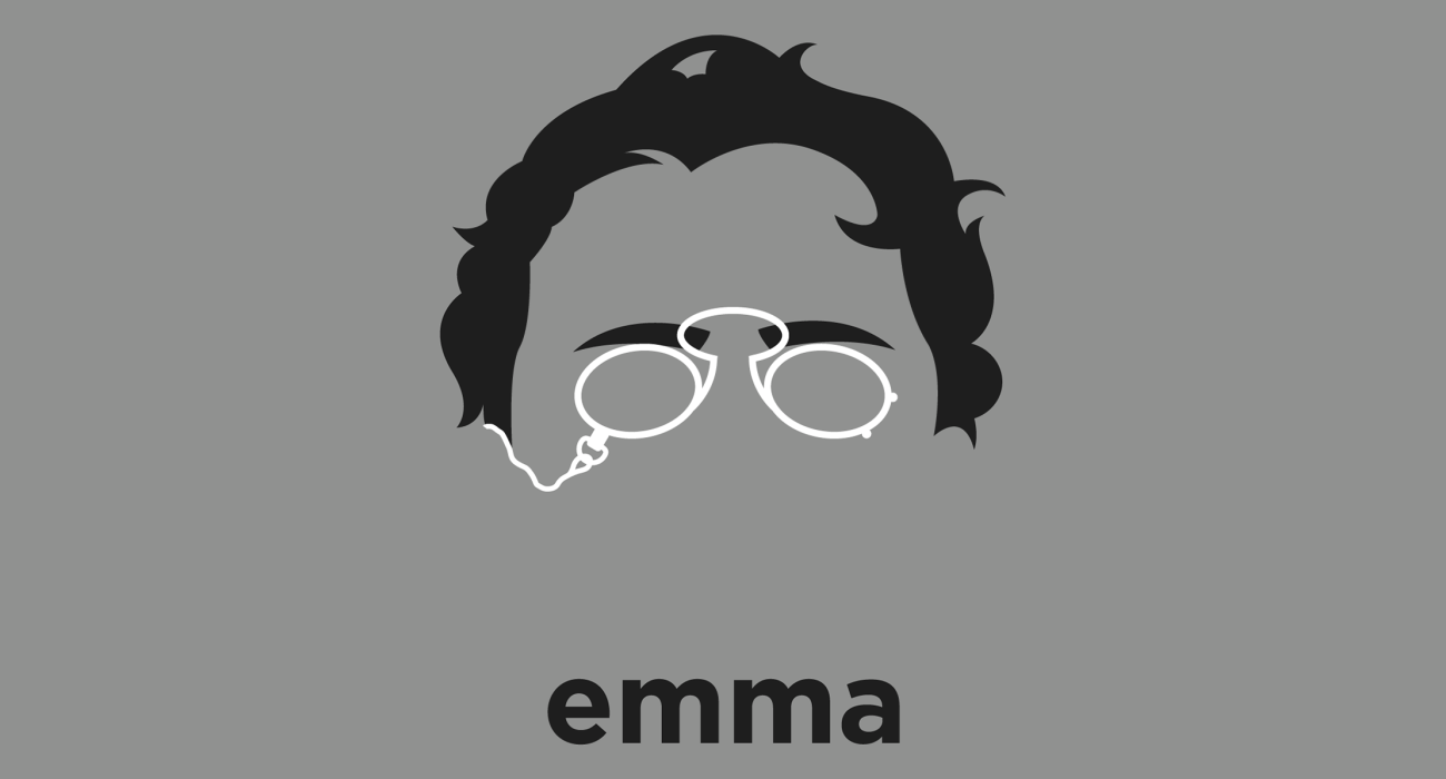 A t-shirt with a minimalist hair based illustration of Emma Goldman: an anarchist known for her political activism, writing, and speeches who played a pivotal role in the development of anarchist political philosophy