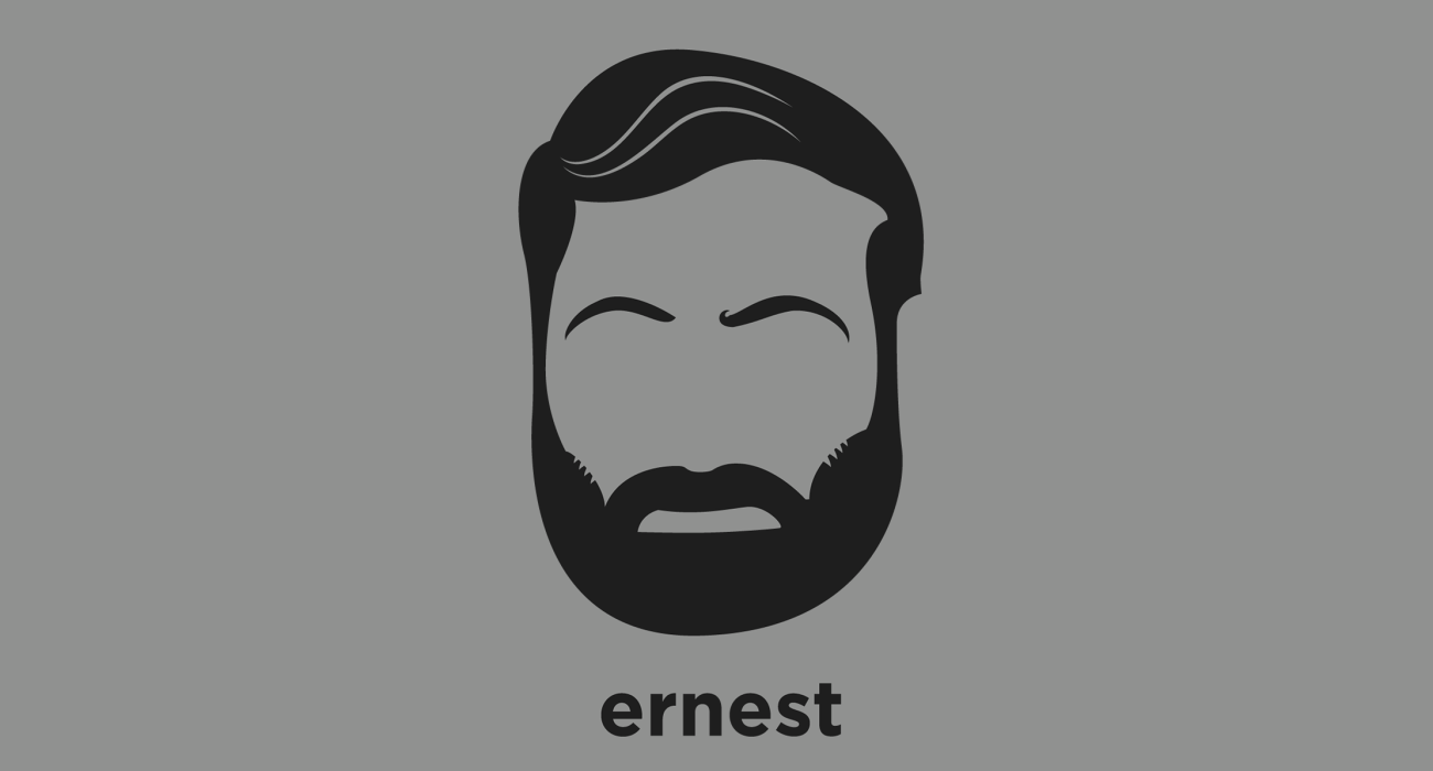 A t-shirt with a minimalist hair based illustration of Ernest Hemingway: author whose understated style had a strong influence on 20th-century fiction, while his life of adventure and his public image influenced later generations