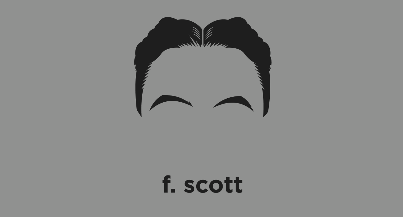 A t-shirt with a minimalist hair based illustration of Francis Scott Key Fitzgerald: Lost Generation writer, whose works illustrate the Jazz Age, and who is now widely regarded as one of the greatest American writers of the 20th century.