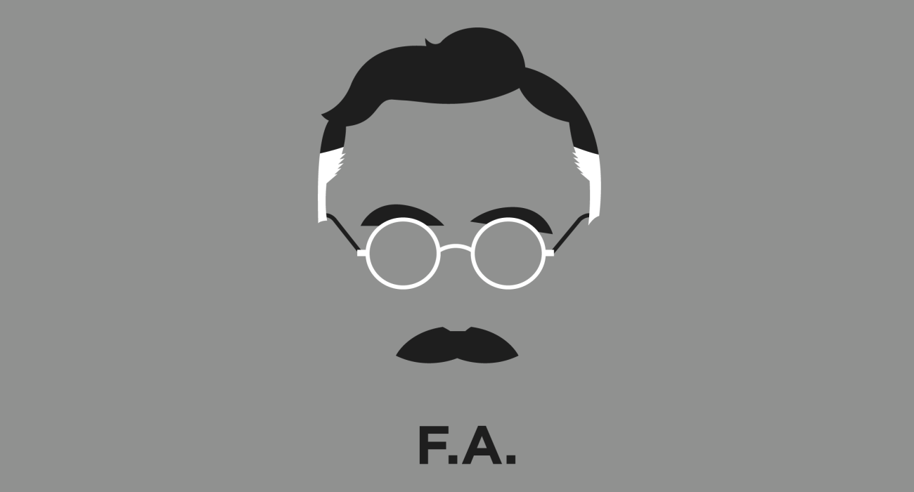 A t-shirt with a minimalist hair based illustration of Friedrich August von Hayek: Nobel Prize winning economist and philosopher best known for his defense of classical liberalism and for his pioneering work in the theory of economic fluctuations and the interdependence of economic, social and institutional phenomena.