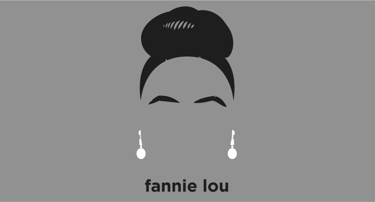 A t-shirt with a minimalist hair based illustration of Fannie Lou Hamer: civil rights activist, She co-founded the Freedom Democratic Party, National Women's Political Caucus, and organized Mississippi's Freedom Summer.
