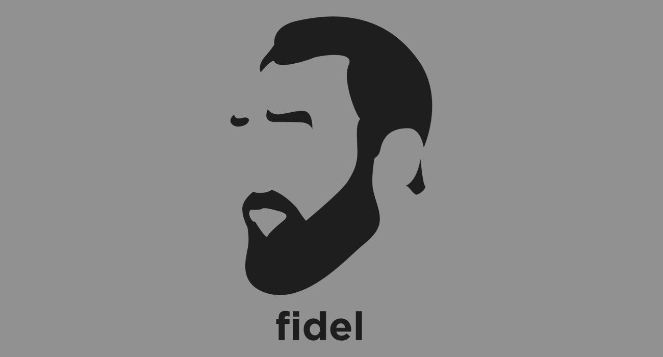 A t-shirt with a minimalist hair based illustration of Fidel Castro: Cuban communist revolutionary and politician who was Prime Minister of Cuba, and then President of