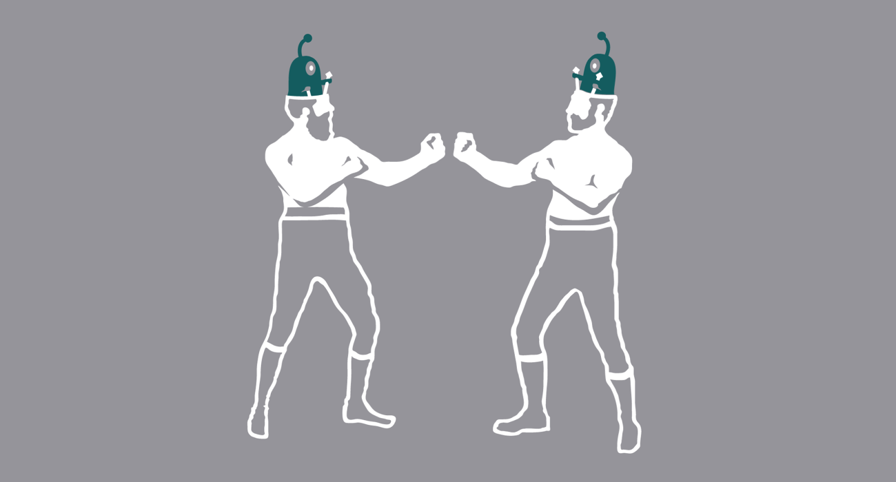 Two pugilistic ruffians engaging in bare knuckle fisticuffsmanship! Only there appears to be two weird little aliens driving them like some crazy machines, like some bizarre alien Rock 'em Sock 'em Robots!
