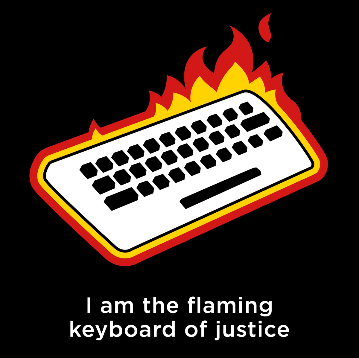 the flaming keyboard of justice shirt from amorphia apparel