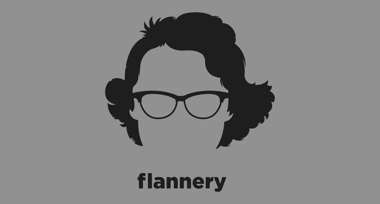 A t-shirt with a minimalist hair based illustration of Flannery O'Connor: an important voice in American literature best known for her contributions to the Southern Gothic style