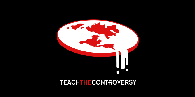 A religious parody t-shirt:  The Flat Earth Society is a modern organization that seeks to further the idea that the Earth is flat instead of an oblate spheroid, yes, they still really exist