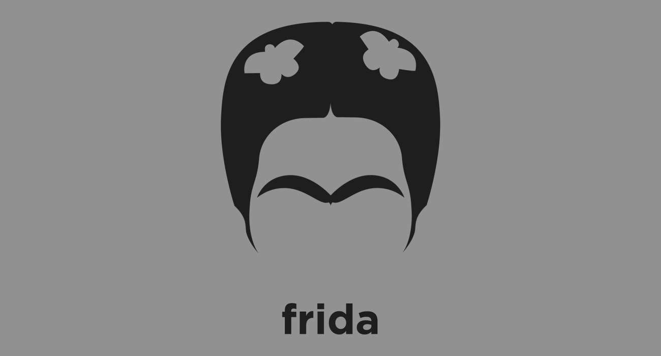 A t-shirt with a minimalist hair based illustration of  Frida Kahlo: was a Mexican painter, who is best known for her self-portraits, celebrated in Mexico as emblematic of national and indigenous tradition