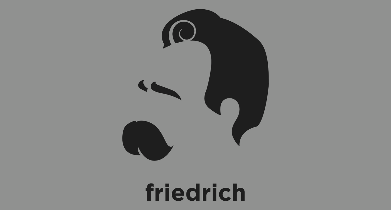 A t-shirt with a minimalist hair based illustration of Friedrich Nietzsche: German existentialist philosopher whos radical questioning of the value and objectivity of truth remained substantially influential
